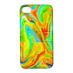 Happy Multicolor Painting Apple Iphone 4/4s Hardshell Case With Stand by designworld65