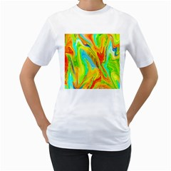 Happy Multicolor Painting Women s T Shirt (white)  by designworld65