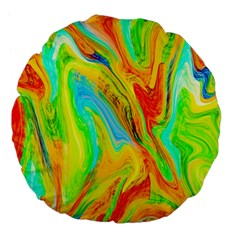 Happy Multicolor Painting Large 18  Premium Flano Round Cushions by designworld65