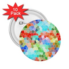 Colorful Mosaic  2 25  Buttons (10 Pack)  by designworld65