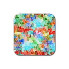 Colorful Mosaic  Rubber Square Coaster (4 Pack)  by designworld65
