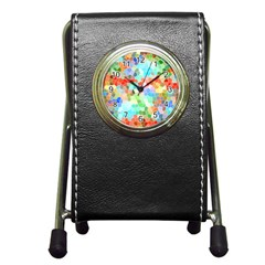 Colorful Mosaic  Pen Holder Desk Clocks by designworld65