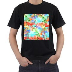 Colorful Mosaic  Men s T Shirt (black) (two Sided) by designworld65