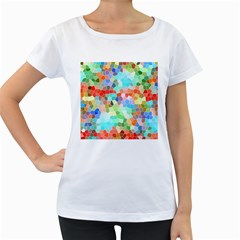 Colorful Mosaic  Women s Loose Fit T Shirt (white) by designworld65