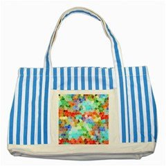 Colorful Mosaic  Striped Blue Tote Bag by designworld65
