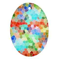 Colorful Mosaic  Oval Ornament (two Sides) by designworld65