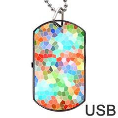 Colorful Mosaic  Dog Tag Usb Flash (two Sides)  by designworld65