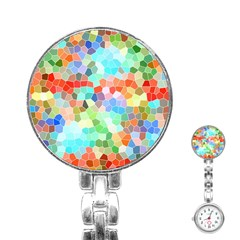 Colorful Mosaic  Stainless Steel Nurses Watch by designworld65