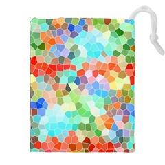Colorful Mosaic  Drawstring Pouches (xxl) by designworld65
