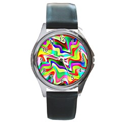 Irritation Colorful Dream Round Metal Watch by designworld65