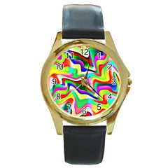 Irritation Colorful Dream Round Gold Metal Watch by designworld65