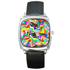 Irritation Colorful Dream Square Metal Watch by designworld65