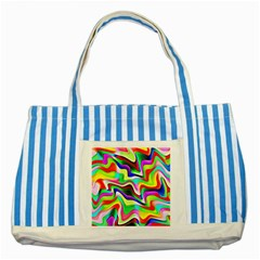 Irritation Colorful Dream Striped Blue Tote Bag by designworld65