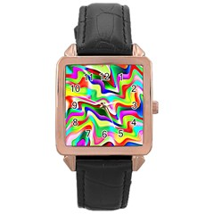 Irritation Colorful Dream Rose Gold Leather Watch  by designworld65