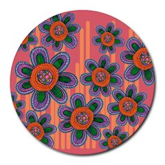 Colorful Floral Dream Round Mousepads by DanaeStudio