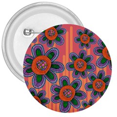 Colorful Floral Dream 3  Buttons by DanaeStudio