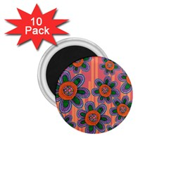 Colorful Floral Dream 1 75  Magnets (10 Pack)  by DanaeStudio