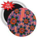 Colorful Floral Dream 3  Magnets (100 pack)
