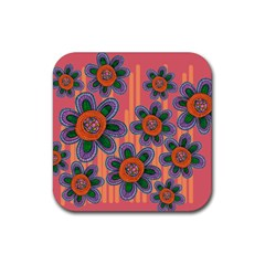 Colorful Floral Dream Rubber Square Coaster (4 Pack)  by DanaeStudio