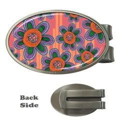 Colorful Floral Dream Money Clips (oval)  by DanaeStudio