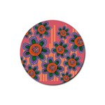 Colorful Floral Dream Rubber Coaster (Round)