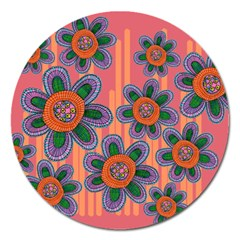 Colorful Floral Dream Magnet 5  (round) by DanaeStudio