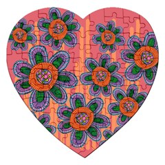 Colorful Floral Dream Jigsaw Puzzle (heart) by DanaeStudio