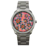 Colorful Floral Dream Sport Metal Watch