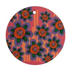 Colorful Floral Dream Round Ornament (two Sides)  by DanaeStudio