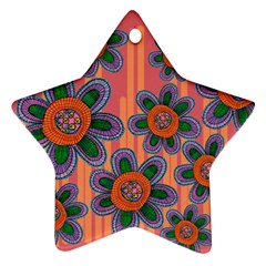 Colorful Floral Dream Star Ornament (two Sides)  by DanaeStudio