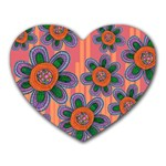 Colorful Floral Dream Heart Mousepads