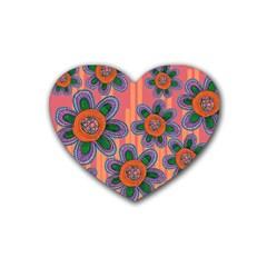 Colorful Floral Dream Rubber Coaster (heart)  by DanaeStudio