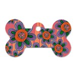 Colorful Floral Dream Dog Tag Bone (One Side)
