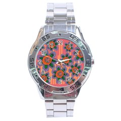 Colorful Floral Dream Stainless Steel Analogue Watch by DanaeStudio