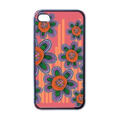 Colorful Floral Dream Apple Iphone 4 Case (black) by DanaeStudio