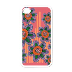 Colorful Floral Dream Apple Iphone 4 Case (white) by DanaeStudio