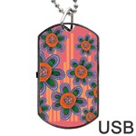 Colorful Floral Dream Dog Tag USB Flash (Two Sides)