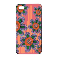Colorful Floral Dream Apple Iphone 4/4s Seamless Case (black) by DanaeStudio
