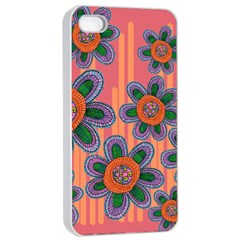 Colorful Floral Dream Apple Iphone 4/4s Seamless Case (white) by DanaeStudio