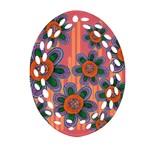 Colorful Floral Dream Ornament (Oval Filigree)