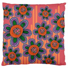 Colorful Floral Dream Large Cushion Case (two Sides) by DanaeStudio