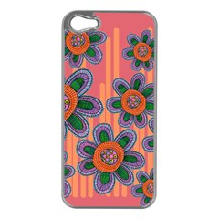 Colorful Floral Dream Apple Iphone 5 Case (silver) by DanaeStudio