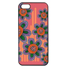 Colorful Floral Dream Apple Iphone 5 Seamless Case (black) by DanaeStudio