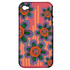 Colorful Floral Dream Apple Iphone 4/4s Hardshell Case (pc+silicone) by DanaeStudio