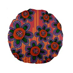 Colorful Floral Dream Standard 15  Premium Round Cushions by DanaeStudio