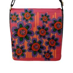 Colorful Floral Dream Flap Messenger Bag (l)  by DanaeStudio