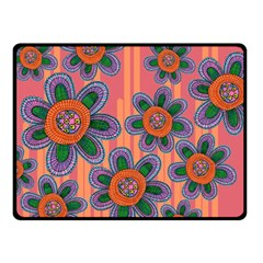 Colorful Floral Dream Double Sided Fleece Blanket (small)  by DanaeStudio