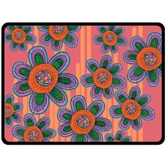 Colorful Floral Dream Double Sided Fleece Blanket (large)  by DanaeStudio