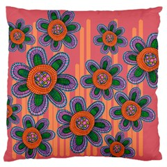Colorful Floral Dream Large Flano Cushion Case (one Side) by DanaeStudio