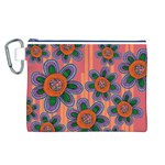 Colorful Floral Dream Canvas Cosmetic Bag (L)